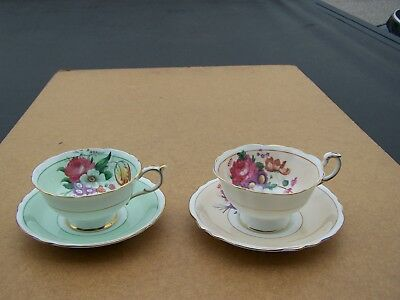 Two Paragon  Garden Flowers Fine Bone China Cup & Saucers MINT