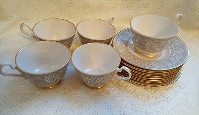 Franciscan Masterpiece China Renaissance Gray / Gold  5 Cups & 7 Saucers  EXCL