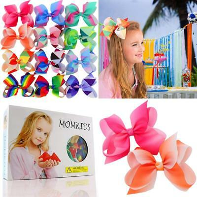 Hair Bows For Girls Large Color Ribbon Boutique Rainbows Bow Clips Set Of 12 NEW