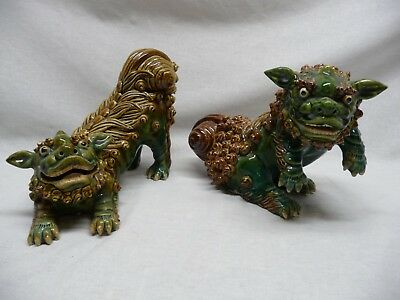 Pair of Vintage Signed Chinese Foo Dogs Rare Stance  Imperial Garden Lions