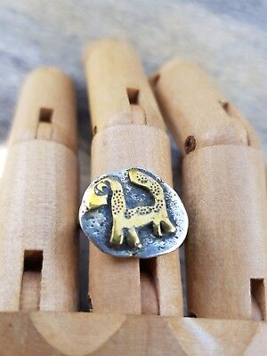 Quirky Dinosaur Ring Handmade Upcycled Brass on Silver  sz7.75  .R100