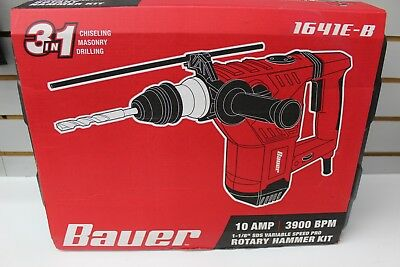 Bauer 63434 1-1/8 in. SDS Variable Speed Pro Rotary Hammer 1641E-B Kit  NEW
