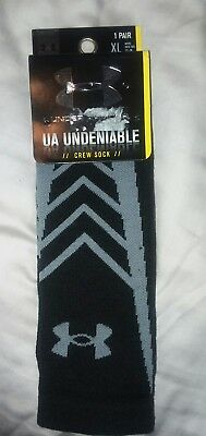 Under Armour UA Undeniable Black Gray Crew Socks Athletic Size XL Men's 13-16