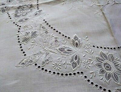 """Amazing Appenzell Embroidered and Needle Lace - 44"""" Linen Tablecloth 6 Napkins"""