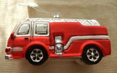 Big Red Fire Truck Christmas Glass Ornament