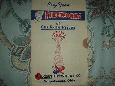Rare late 1940s BUCKEYE Fireworks catalog, Wapakoneta, OH Good condition-15 pgs
