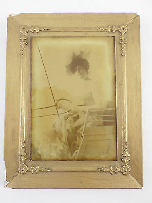 Ambrotype of Young Woman- Buggy Whip in Horse Carriage - 1/2 Plate - Gesso Frame