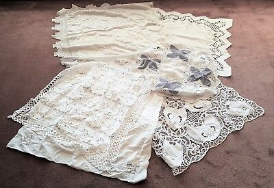 Bulk Lot Of 7 Vintage Smallish Square Lace/embroidered/linen Table Cloths