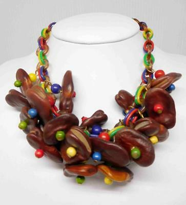 Vintage 1940s Celluloid Link Statement Necklace w Seed Charms #595