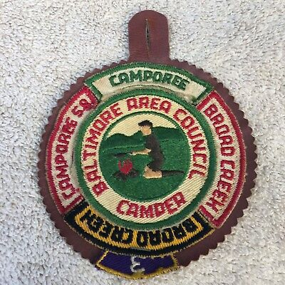 1950s-era round Baltimore Area Council Camper patch with segments. Free shipping