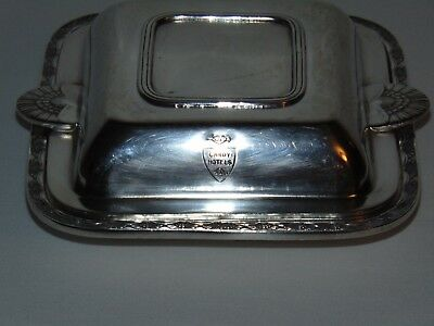 Vintage Antique Silver Plate Cardy Hotel Ware Butter Dish Canadian Beaver Logo