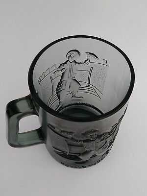 Vintage McDonalds Glass Ronald McDonald Football Smokey Gray 1974 Mug