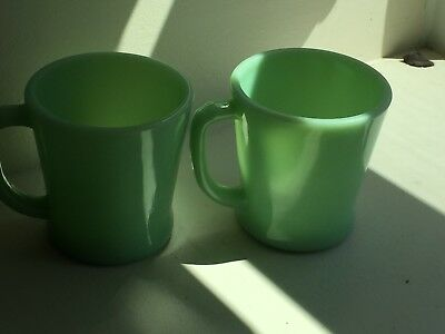 2 Fire King Jade-Ite Jadite Green D Handled Coffee Mugs Oven Safe