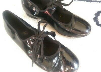 Patent Black Lace up Girls tap shoes Size 2