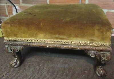 vintage French Country Footstool Ottoman brown velvet top Louis XV Carved Walnut
