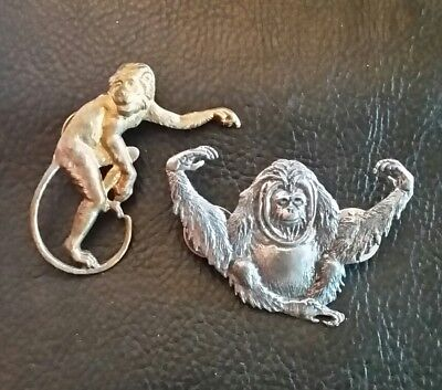 VTG BROOCH LOT MONKEY ORANGUTAN PIN Gold Silver Plated 2pcs