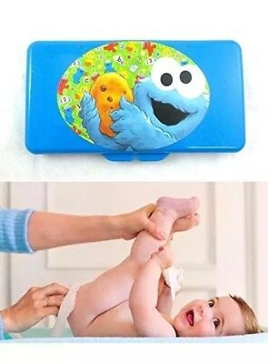 Sesame Street Cookie Monster Blue Travel Baby Wipes Case  NEW
