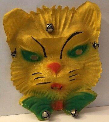 Vintage Halloween Yellow Green CAT Gauze Cloth MASK with Bells