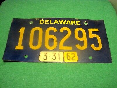 Vintage 1962 Delaware License Plate. Riveted Numbers