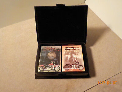 NOS Sealed Harley Davidson 2 Deck Playing Cards in a Leather Box Metal Studs