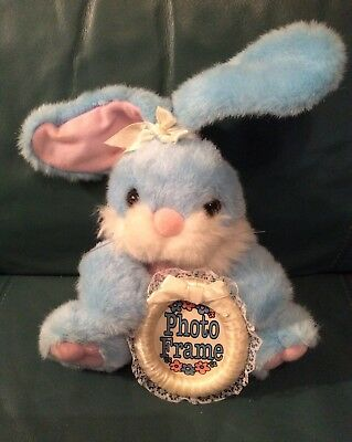 "JOELSON INDUSTRIES Plush Bunny with Photo Frame ""LIGHT BLUE"" NEW!!"