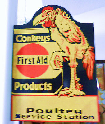 Vintage 1930's Conkeys Turkey Poultry Farm Double Sided Metal Die Cut Sign
