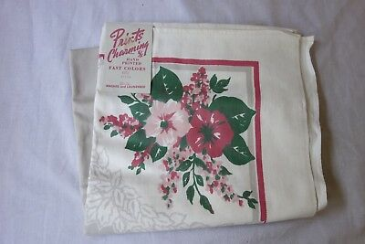 Vintage Table Cloth Prints Charming Hand Printed 36x36 Wales NOS