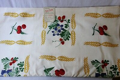 Vintage Table Cloth Oppa Tunity 54 x 54 Cherries Hand Printed NOS