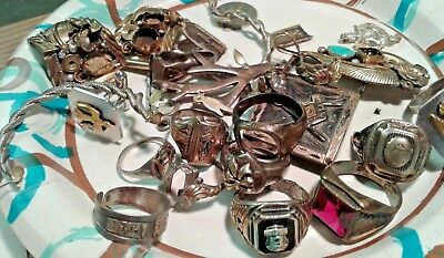 Prospector's Sterling Silver Scrap lot attached gold 157.5gm NR