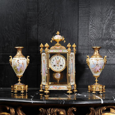 Sevres Porcelain And Champleve Enamel Antique French Clock Set Superb