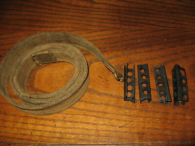 British enfield tan web sling dirty used and 4 stripper clips chargers .303