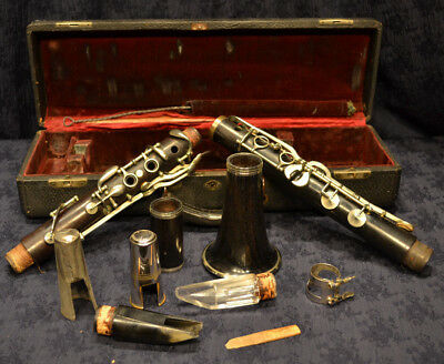 Antique French Wood Rosewood? Clarinet In Case Glass & Bone Mouthpiece SILVER
