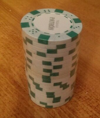 Patron Tequila Poker Chips - Sealed Stack of 20 Chips - Green