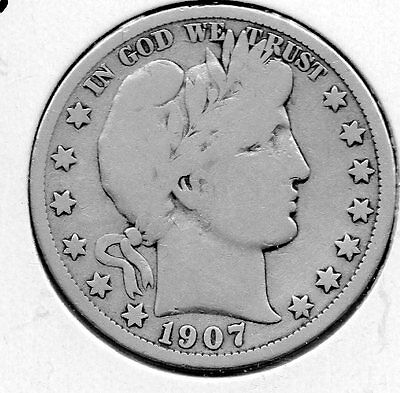 1907 O Barber Half Dollar Nice collector grade silver piece FREE ship in the USA