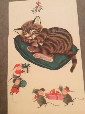 Artist Craig Pineo Christmas Card Front Sleeping Calico Cat Kitty Mice Presents