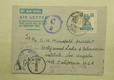 Dr Who 1950 India To Usa Censored Aerogramme Stationery Postage Due C38783