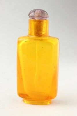 Good Condition Authentic Chinese Qing Dynasty Yellow Glass Snuff Bottle