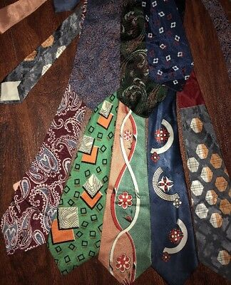 Lot 7 1940s Vtg Art Deco Atomic Neckties Wide Swing Tie