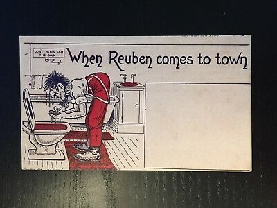 1910s Anti-Semetic Postcard - When Reuben Comes to Town - Unposted