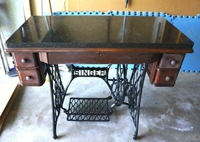 Antique vtg Cast Iron Singer Sewing Machine cherry wood drawers table marble top