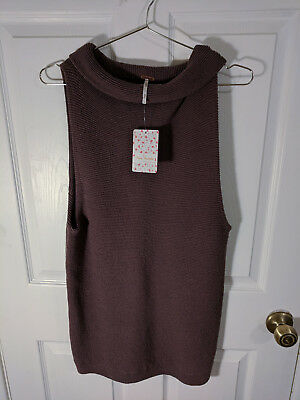 Free People Taupe Cowl Neck Sleeveless Sweater Womens XS NWT