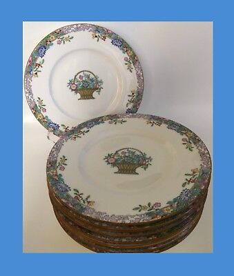 "Vintage Minton 10.25"" Dinner Plates - Flower Basket With Floral Trim - Set Of 10"