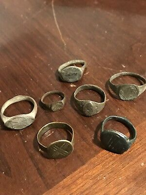 Lot Of 7 Ancient Roman - Medieval Period Bronze Rings -Nice Patina .99 Start