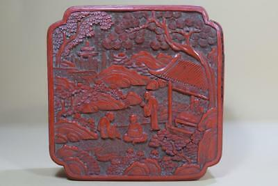 A Chinese Carved Cinnabar Lacquer Box And Cover.