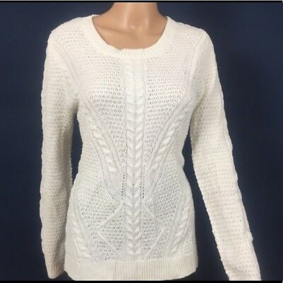 Hippie Rose Cable Knit Sweater Junior Size Large Ivory Long Sleeve Casual $44