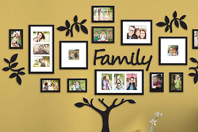 Family Tree Picture Frame Wall Mount Not Decals Collage Kids Photos 19 Pieces