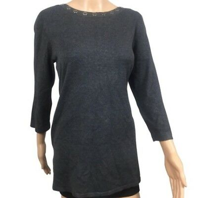 Cable Gauge Womens Sweater Large Gray Embellished Quarter Sleeve Casual  $60