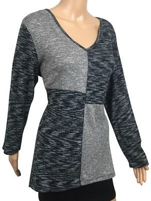 Style & CO Womens Tunic Sweater Large Black Gray ColorBlock Long Sleeve $54