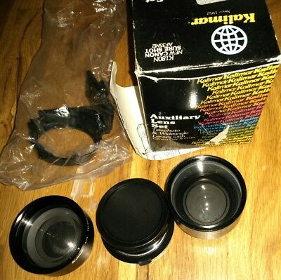 Kalimar K180N Auxiliary Lens Set Telephoto and Wide angle Lenses w/ Case- NIB