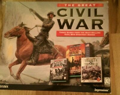 The Great Civil War 3-Game Set for PC From Sierra 1 & 2 Generals, Blue Gray BOX